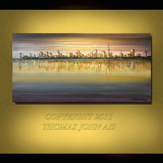 SAN FRANCISCO Skyline Cityscape Golden Gate Abstract 24X48 Original Painting by Thomas John