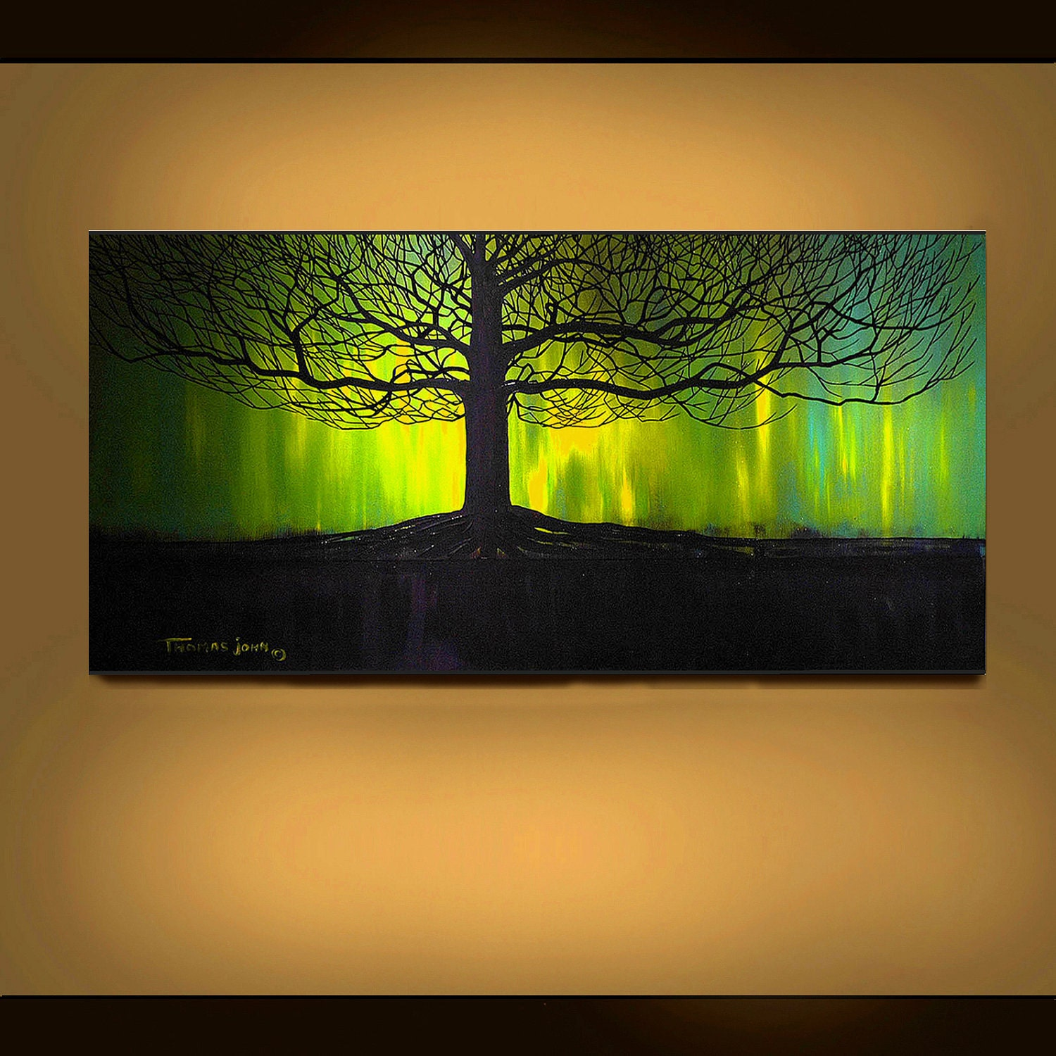 Original painting abstract landscape green tree large 24x48 for Abstract painting on black canvas
