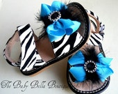 Toddler Zebra squeaky sandals/Baby Girl Leather Zebra squeaky shoes with turqoise bow.