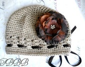 Baby Girl Crochet Flower Hat,crochet beanie -Brown Flower - Fits infants to toddlers - Baby shower