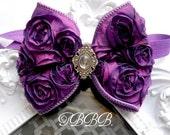 Vintage,shabby Baby Girl purple Rosette Bow, elastic headband,Toddler ,Infant ,girl headband.