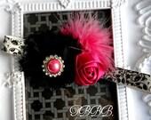 Damask print elastic headband ,rosette flower and rhinestone,girl headband.