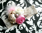 Cream and Pink Rosette Lace Headband with rhinestone accent and feathers- Newborn / Baby Girl Toddler - Great Photo Prop