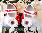 Baby Girl  Red and white polka dots with white rosette shoes, Crib Shoes ,Baby booties,Girl shoes.