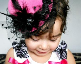 Pink Mini Top Hat ,Fascinator,Photo Prop for Women-Baby-Little girls hat.