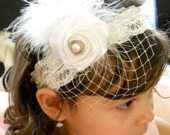 Gorgeous Luxe Vintage Inspired white lace Headband-BabyGirl white lace headband.