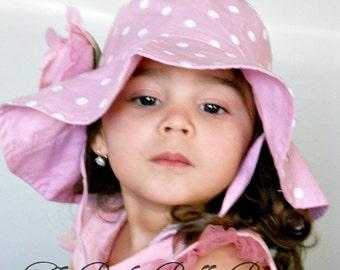 Toddler-Infants Baby Girl Sun Hat,pink and white polka dot  flower sun hat ,polka dots hat,Girls hats
