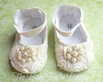Baby Girl Ivory Satin Rosette Crib Shoes  ,Baby Shoes,Christening, Baptism, Wedding, Ready to ship