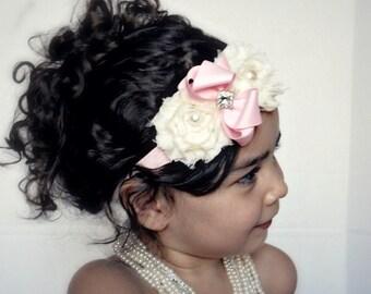 Baby Girl Ivory and Pink shabby chic chiffon flowers  elastic heaband,Girl headband