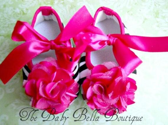 Baby Girl hot pink  Zebra Crib Shoes Pink Rosette