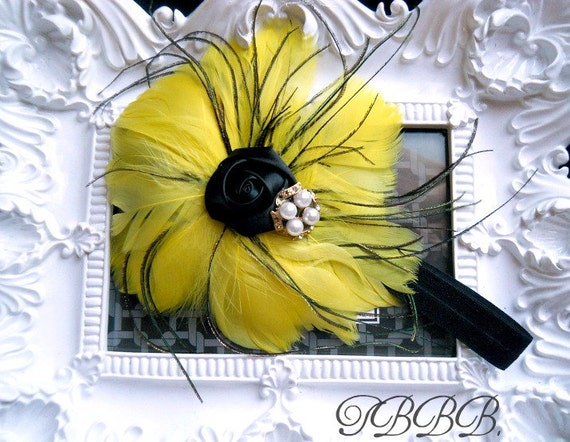 Baby Girl Yellow Feather flower black elastic with black rosette and rhinestone.Girl headband