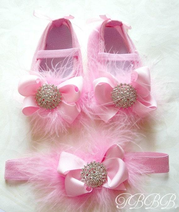 Princess Baby Girl Pink Crib Shoes and headband set ,baby booties,elastic headband,