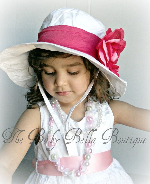 Toddler-Infants Baby Girl Sun Hat, white with pink flower sun hat ,