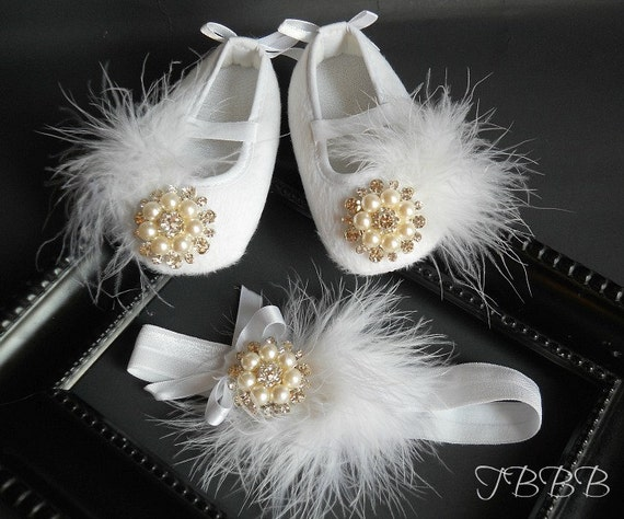 Fancy Couture  Baby Girl  white Crib Shoes and headband set ,White Christening Booties ,elastic headband.