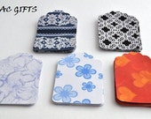 Paper Gift Tags large 3'' Lot of 50 5 designs patterns