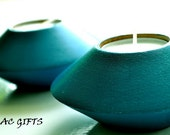 Wooden Candle Holder tea light teal blue color set of 2