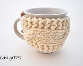 Mug Cozy, Cup Cosy, Mug Warmer knitted,  cream color,