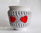 Red heart  Mug Cozy, Cup Cosy, Mug Warmer knitted, grey color,valentines gift - LilacGifts