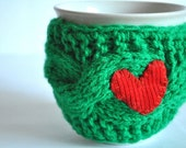 Mug Cozy, Cup Cosy, Mug Warmer knitted, green color, valentines gift, Red heart,