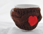 Cup Cozy, knitted mug cozy, brown color,valentines gift, mug warmer, Red heart, Travel cup cozy,