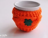 Mug Cozy, Shamrock Mug Cozy, St. Patrick's Day Mug Cozy, orange color , Good Luck Mug Cozy,