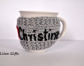 Personalized Knitted Mug Cozy, any color, any word, red heart, Personalized Gift, grey color