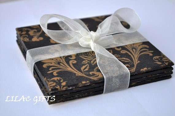 SPECIAL ORDER FOR  - antqetsy01 - Decoupage Wooden Coasters , black and gold, French Damask Theme, set of 4
