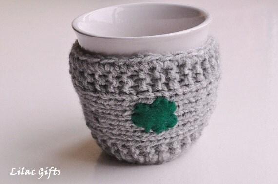 Knit Mug Cozy, Shamrock Mug Cozy, St. Patrick's Day Mug Cozy, grey color, Good Luck Cozy,Travel cup cozy,