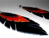 Leather Feather Earrings - Harley Davidson Leather - Orange and Black Leather - Spring Fashion