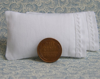 Dollhouse Miniature Set of 2 White Bed Pillows with delicate lace detail - 1:12 scale