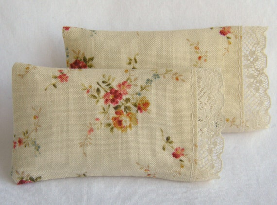 Dollhouse Miniature Set of 2 Rose Print on Ivory Pillows with french lace detail - 1/12 scale
