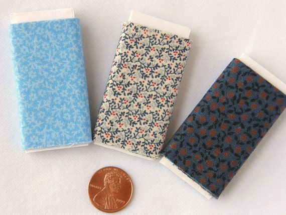 Dollhouse Miniature Set of Three Bolts of Fabric - The Blues Assortment 1
