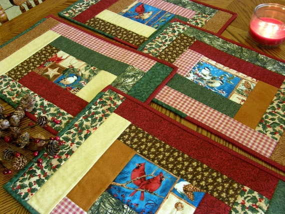Quilted Christmas Placemats - Set of 4 - Holiday Birds