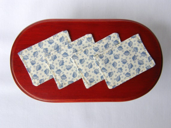 Dollhouse Miniature Reversible Placemats Set of 4, In 1:12 Scale - Light Blue Leaf print reverses to Christmas