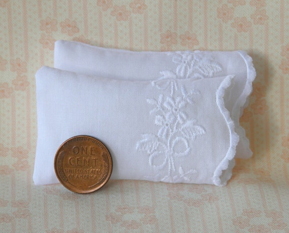 Set of 2 Miniature Premium White Pillows with White Floral Embroidery - 1:12 scale