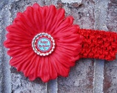 Red Daisy With Dr. Seuss Inspired Happy Birthday Bottle Cap Center Flower Clip With Red Headband For  Birthday Party Or Photography