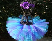 Butterfly Kiss Tutu Purple, Teal, And Blue Tutu Baby And Girls Birthday Tutu With Flower Headband Custom Made To Order