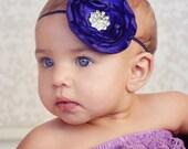 Deep Purple Singed Flower Headband With Rhinestone Embellishment Stunning Vintage Style Newborn Photo Prop