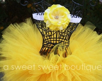 Petit Soleil Tutu And Flower Headband Yellow Tutu Set Yellow Baby Girl Tutu Yellow Newborn Tutu Yellow Tutu And Headband Cake Smash Tutu Set