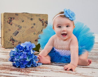 Turquoise Tutu And Flower Headband Newborn Photo Prop Blue Tutu Set Teal Tutu Set Turquoise Baby Tutu Blue Newborn Tutu Baby Girl Tutu Set