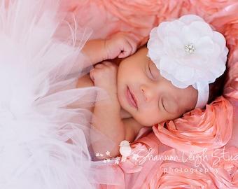 White Baby Girl Tutu White Newborn Tutu White Baby Tutu And Headband Newborn Photo Prop Tutu Baby Tutu And Flower Headband Cake Smash Tutu