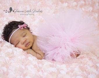 Sweet InnocenceTutu Pale Pink Newborn Tutu Custom Made With Matching Bitty Bow Headband Sweet Newborn Photo Prop