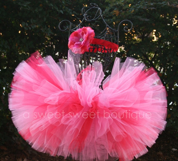 Sweet Valentine's Day Tutu Valentine Tutu With Matching Flower Headband From The Sweet Sweet Couture Collection Perfect For Valentine's Day