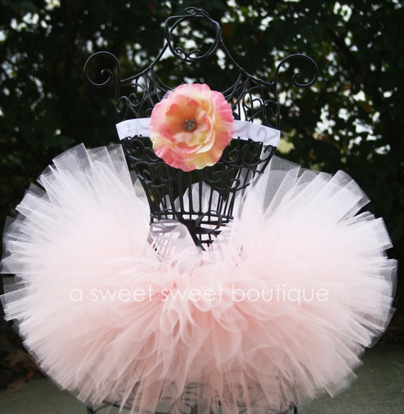 Flower Girl Tutu Peach Blossom Tutu Couture Tutu With Matching Flower Headband From The Sweet Sweet Couture Collection