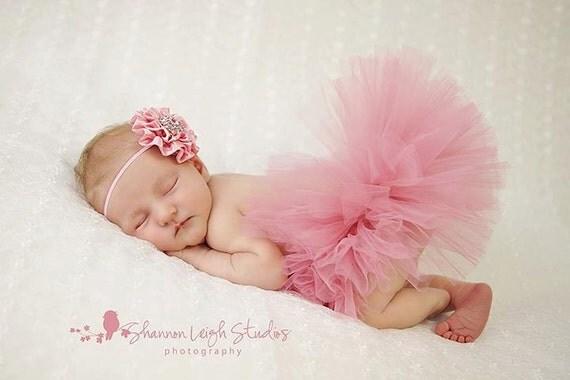 Sweet Vintage Pink Tutu Newborn Tutu Custom Made With Matching Vintage Style Flower Headband Stunning Newborn Photo Prop