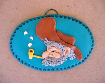 Plaque, polymer clay plaque, Southwestern prospector character wall plaque