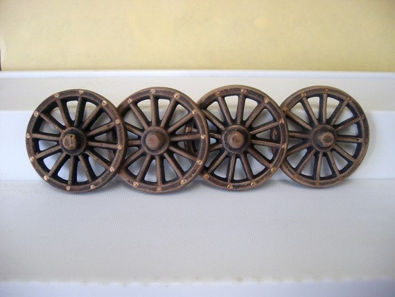 ceramic miniature wagon wheels - small, set of 4 wagon wheels