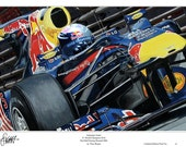 Sebastian Vettel Red Bull Limited Edition F1 Art Print