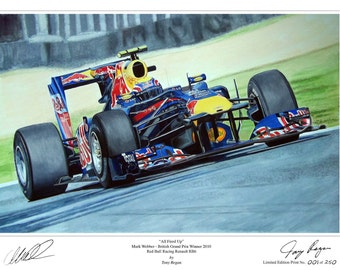 Mark Webber Red Bull 2010 Limited Edition F1 Art Print