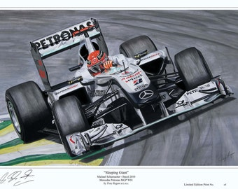 Michael Schumacher F1 Mercedes 2010 Ltd Ed Art Print